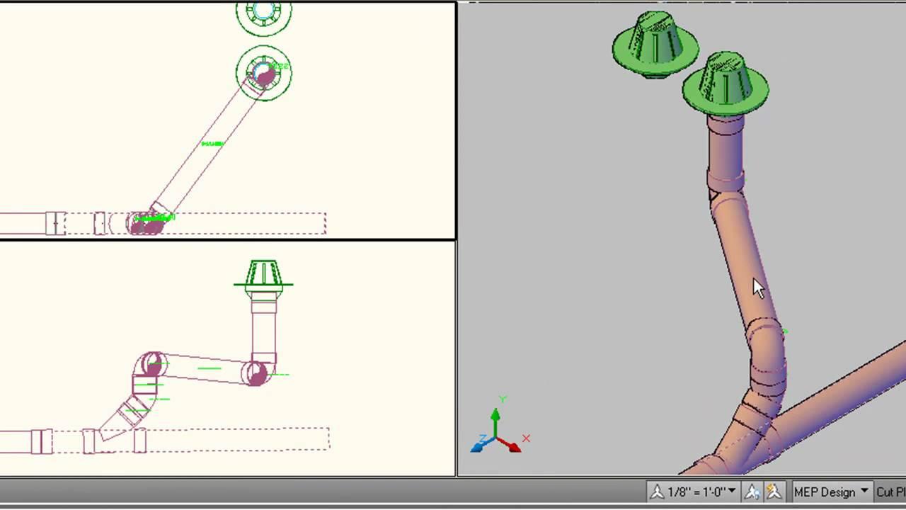 AutoCAD MEP 2010 Piping Basics  Video 2of2  YouTube
