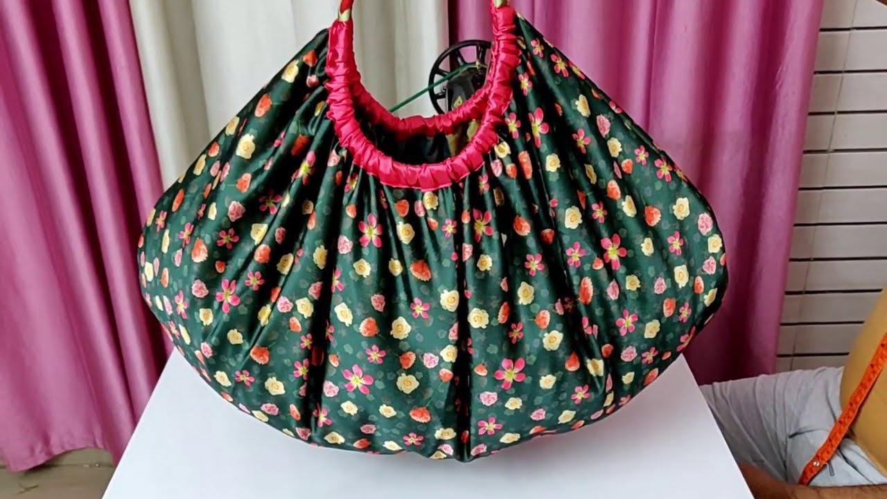 How to stitch Round handbag - DIY Tote bag - market bag / Ladies purse cutting and stitching