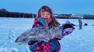 Kids Catch Huge Brook Trout on Jaw Jacker Ice Fishing