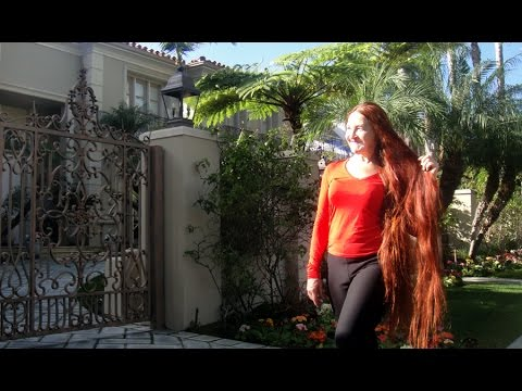 Super long hair  Sarah Goldberg  beauty walks in Beverly Hills
