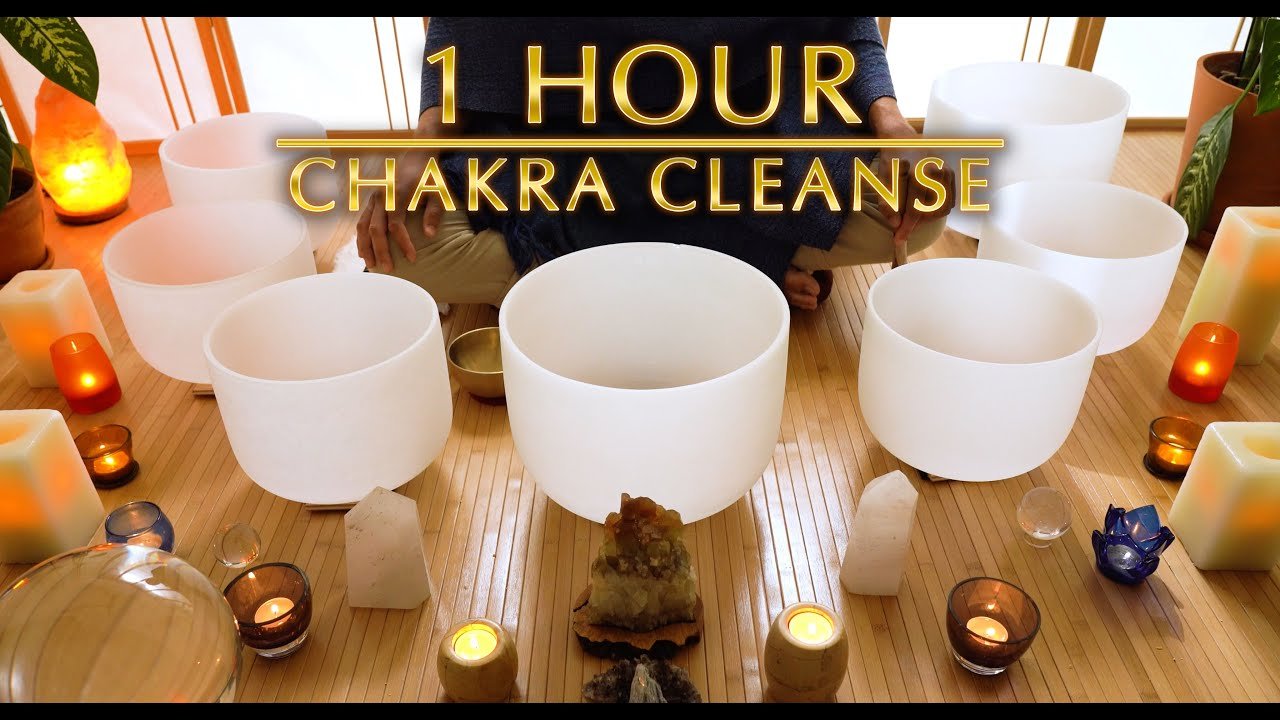 1 Hour Chakra Cleanse Sound Bath / Crystal Singing Bowls / Rebalance | Sleep | Unintentional ASMR