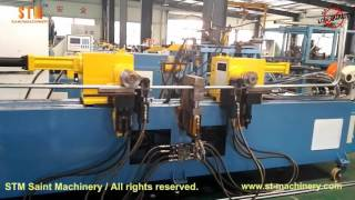 STM Double head tube bender with end forming for making closed frames, twin head bending machine
