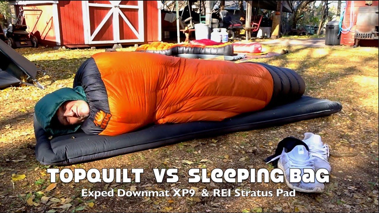 Top Quilt Versus Sleeping Bag on Ground