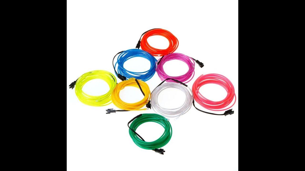20M EL Wire Lemon Red Yellow Green White Blue Purple Pink Flexible ...