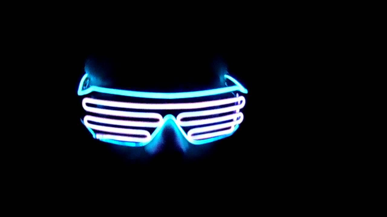 Lerway Black Frame Neon El Wire LED Lighting Glasses - YouTube