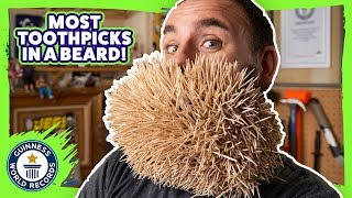 Most toothpicks in the beard - Meet The Record Breakers