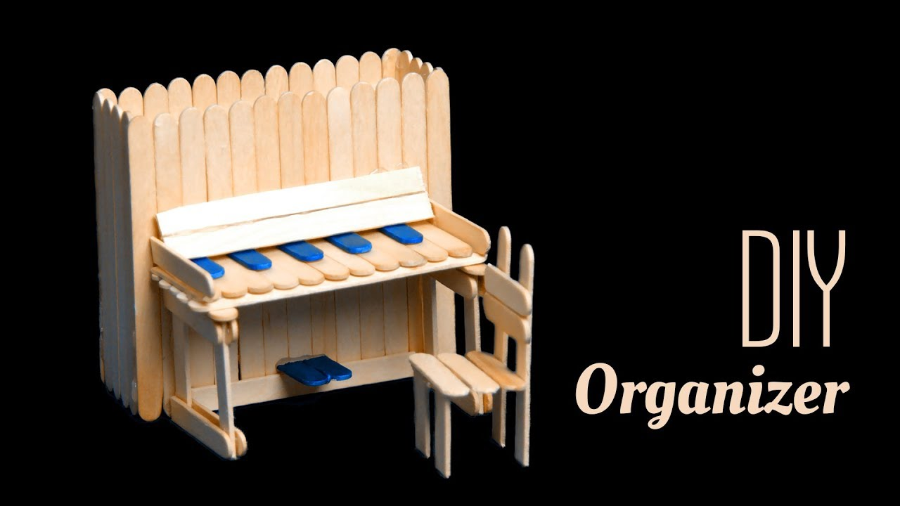 Diy Piano Pen Holder And Chair With Pop Sticks Popsicle