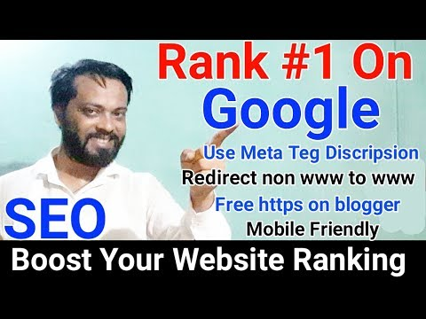 How to Rank #1 on Google first page - Create meta tag description - redirect non www to www blogger - 동영상