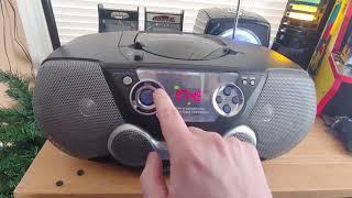 Philips AZ1300 CD Soundmachine plus a Thunderbird neon clock radio CD player and a lava lamp