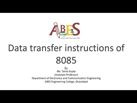 Data transfer instructions of 8085 by Ms. Tania Gupta