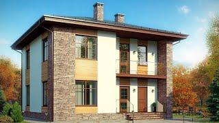 Проект дома в европейском стиле из газобетона. Дом с террасой, балкон и камин. Ремстройсервис М-268