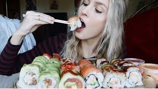 SUSHI MUKBANG!!! (tuna,unagi, shrimp + more)