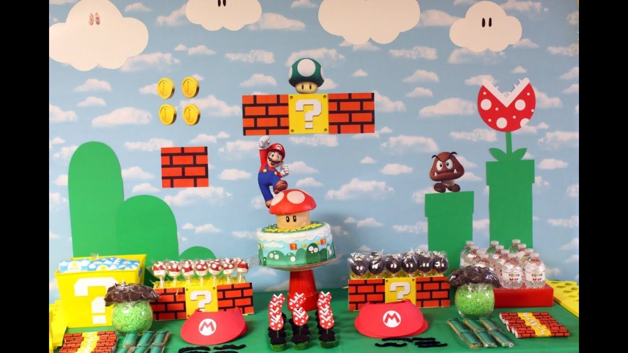 Mario Birthday Party Decorations and Walk Through Abes World