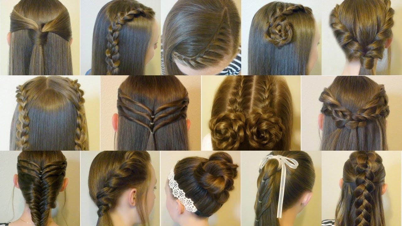 14 Easy Hairstyles For School Compilation! 2 Weeks Of Heatless Hair ...