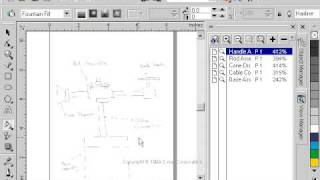 CorelDraw 9 for PC Scenario -interactive fill tool - fountain fill - -technical drawing