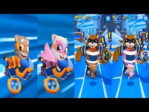 Talking Tom Hero Dash  Ride the jet Bike VS Teamwork Superpower- SUPER Angela VS  SUPER TOM