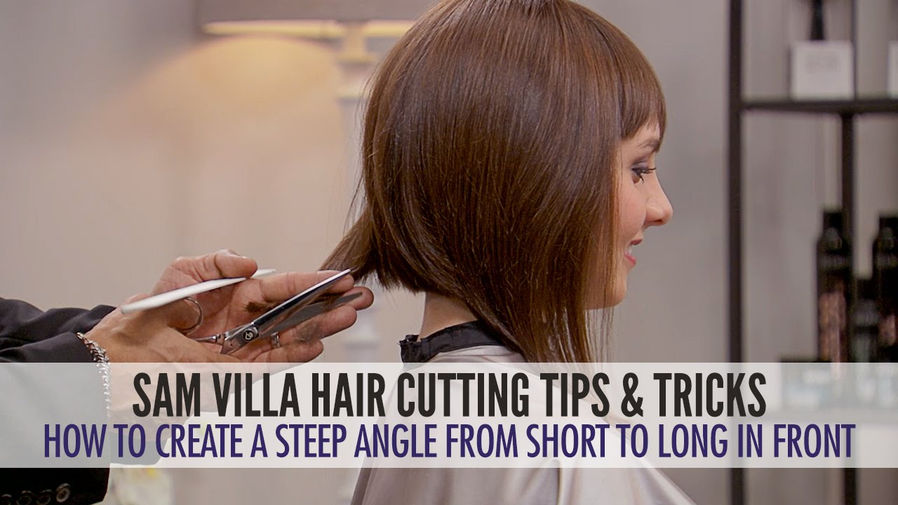 How To Cut Hair Into A Steep Angle And Maintain Length In The Front