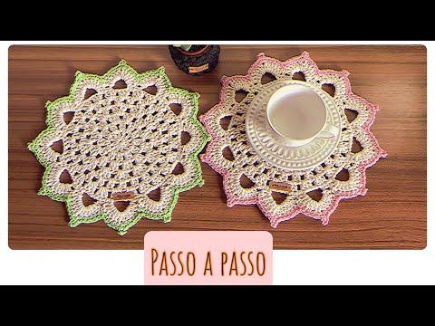 PASSO A PASSO PORTA XÍCARAS . #Croche #crochet #crocheting #artesanato #crocheiniciantes