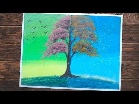 Cara Menggambar Dua Dimensi Dengan Crayon Gambar Siang Dan Malam Siluet Wanita Dan Pohon Youtube