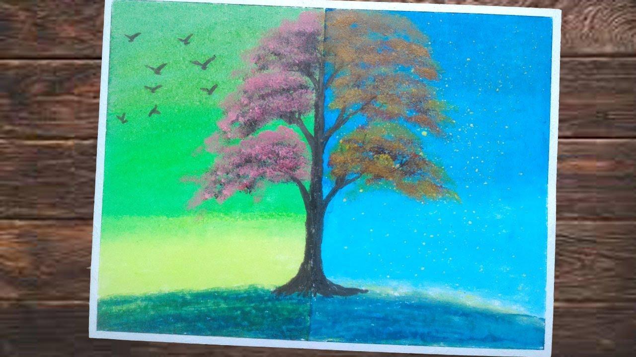 Pemandangan Pohon Gambar Dua Dimensi Tehnik Lukis Menggambar Dengan Crayon Youtube