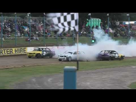 The Dirty Rottens come up against Dads Army at Waikaraka Park Speedway. - dirt track racing video image