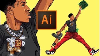 Drawing NBA YoungBoy from Scratch ( ADOBE ILLUSTRATOR )