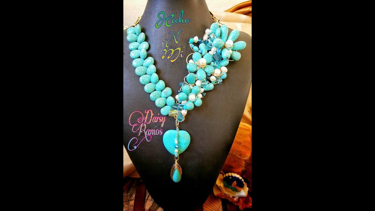 e894a1baa41a Espectacular Maxi Collar Turquesas y Perlas DIY - YouTube