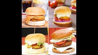4 Ways Burger    McAloo Tikki Burger   Cheesy Aloo Tikki Burger
