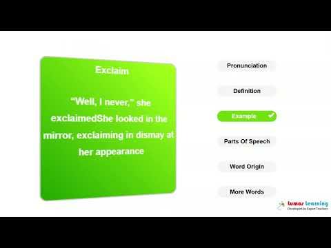 EXCLAIM - Definition, pronunciation, grammar, meaning - Practice grade 4 vocabulary