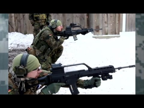 U.S. Soldiers In Baumholder Germany Trained By German Marksmen On Firing Range