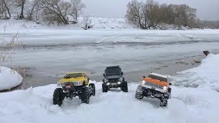Two Vaterra Ascender and Traxxas TRX-4 in a Long Trip Part 1
