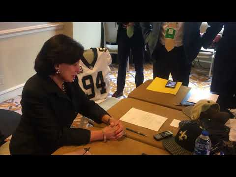 'I know he's here:' Gayle Benson evokes late husband Tom in winning Super Bowl pitch