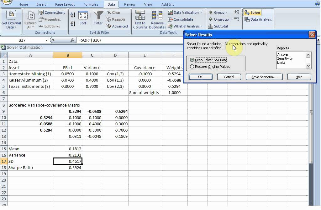 Sharpe Ratio Maximization With Excel Solver Youtube