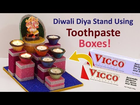 Best Out of Waste Diwali Diya Decoration by StylEnrich | Diya Stand Made using Toothpaste Box!