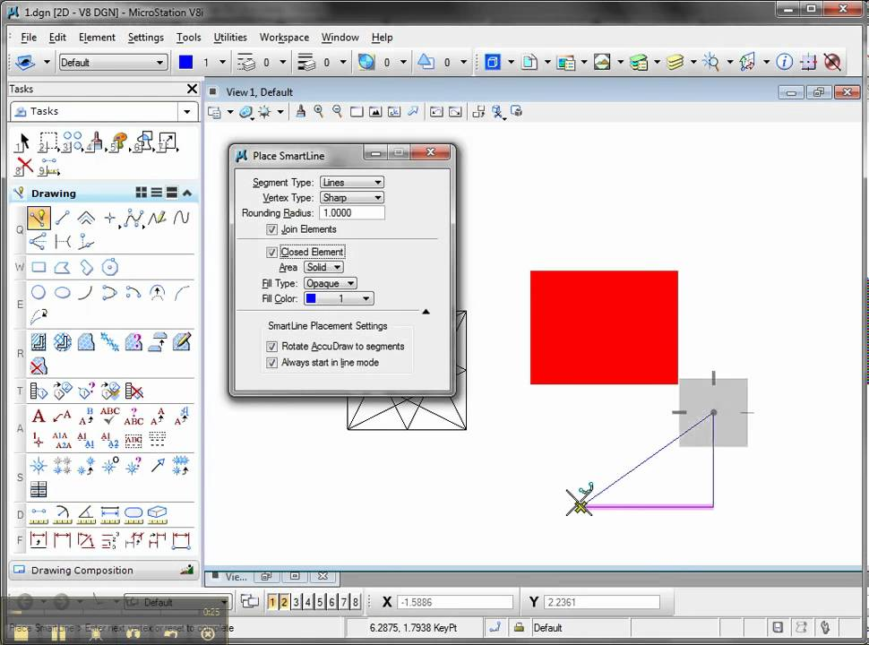 Drawing Lines In Microstation : How to create solid fill pattern in microstation youtube