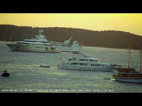 Hvar Webcam Recording from 06.Aug.2016. - Sunset and yachts at night