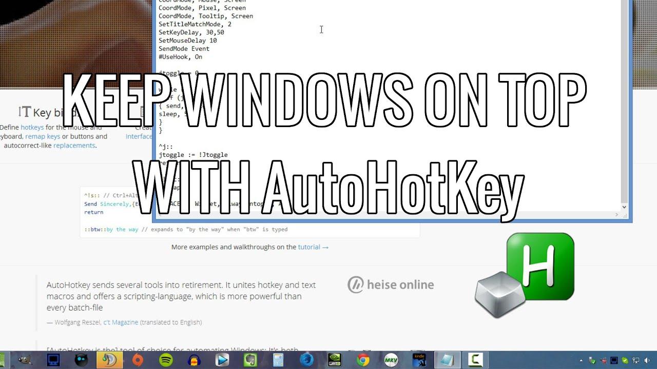 How to Keep a Window on top with AutoHotKey
