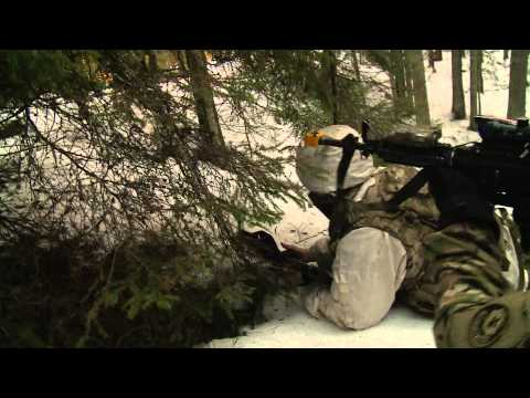 Operation Atlantic Resolve - US and Estonian soldiers fight in winter training. RAW FOOTAGE