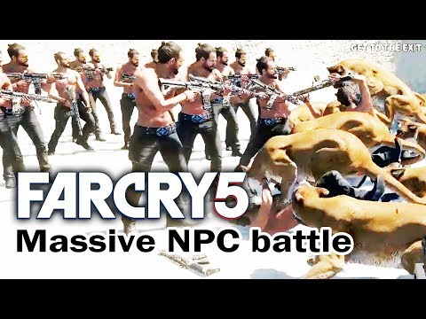 Far Cry 5 Massive NPC Battle - JOSEPH SEED vs THE WILD (featuring Yetis)