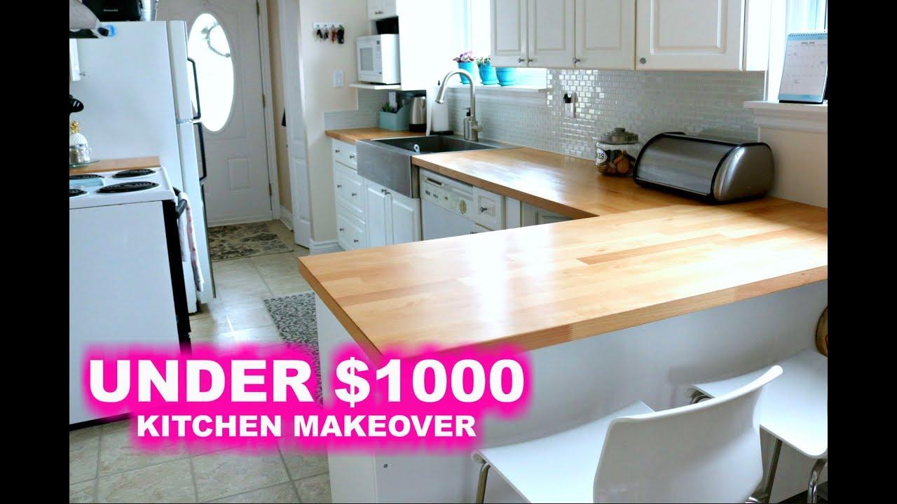 KITCHEN REMODEL || UNDER $1000 - YouTube