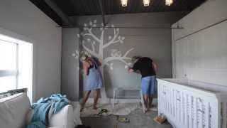 Baby room tree and owls reverse painted to Nursery rhyme techno