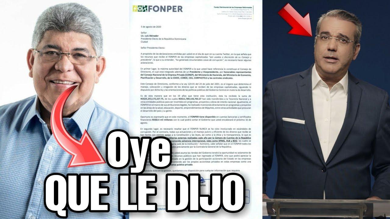 El director de Fonper No Se Quedó Callado Y Mira Que le Dijo A Luis Abinader