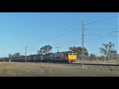Electric Locomotives on a Long Coal Train Near Nebo Queensland