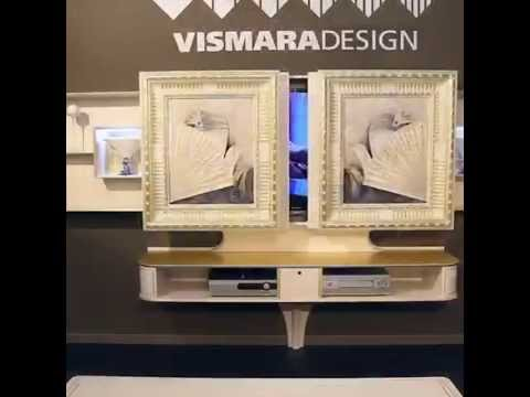 sliding home cinema tv stand art deco collection by vismara design youtube. Black Bedroom Furniture Sets. Home Design Ideas