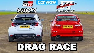 Toyota GR Yaris v Mitsubishi Evo VI - DRAG RACE *Tommi Makinen Showdown*