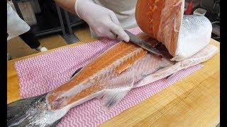 [4K]How To Fillet a Whole Scottish Salmon& How To Make Sushi,Sashimi_Japanese food