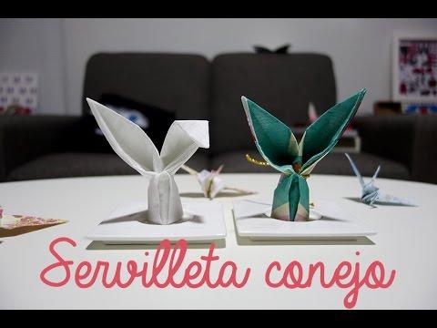 C mo doblar servilletas en forma de conejo origami youtube - Origami con servilletas ...