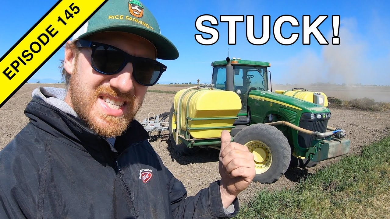 This Poor John Deere Tractor is Stuck! | Fertilizing Rice Fields