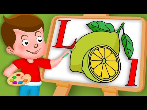 Drawing Alphabet L Letter with Lemon fruit Drawing Paint And Colouring For Kids | Kids Drawing TV