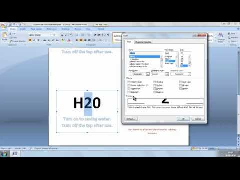 Superscript Subscript MS Word 2007 - 2